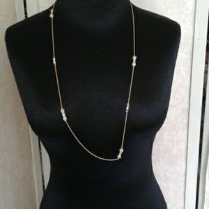 Kate Spade Necklace Long Gold w/Rhinestone Bows